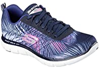 Send your feet on a much needed vacation with the SKECHERS Flex Appeal 2.0 - Tropical shoe. Soft floral print mesh fabric upper in a lace up athletic sporty training sneaker with stitching accents and Air Cooled Memory Foam insole.