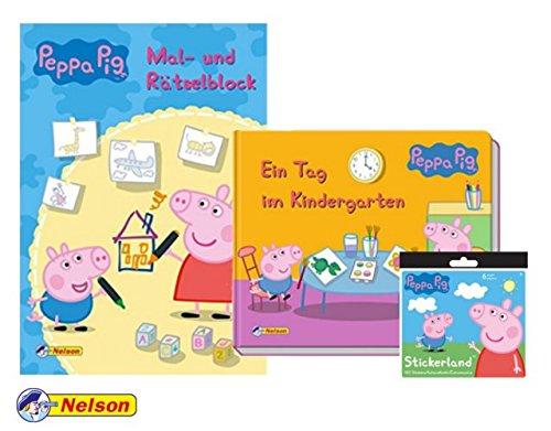 Unbekannt Peppa: Ein Tag im Kindergarten (Pappenbuch) + Mal- und Rätselblock (Softcover), 1 Peppa Pig Stickerbogen mit 20 verschiedenen Stickern