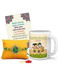 Tied Ribbons Rakhi Gift Pack for Brother (Designer Rakhi, Printed Coffee Mug, Rakshabandhan Special Card, Roli Chawal)