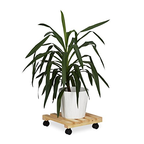 Relaxdays Pflanzenroller eckig, 4 Rollen, Rolluntersetzer für Blumenkübel, Holz, Natur, 1.3 x 35 x 35 cm