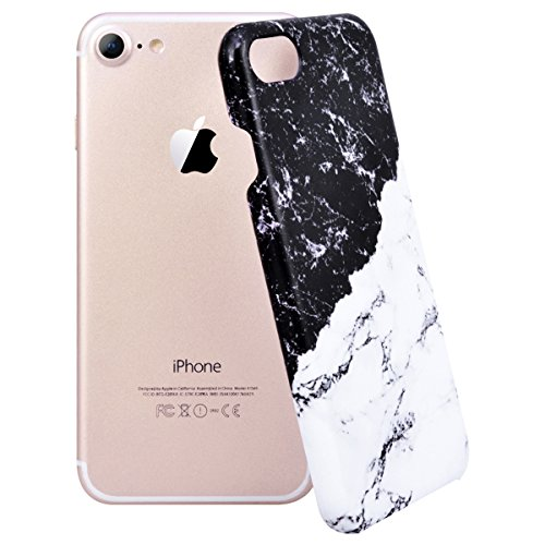 "WE LOVE CASE iPhone 8 Hülle Kreativer Marmor iPhone 8 4,7"" Hülle Hardcase Schwarz Weiß Rosa Handyhülle Tasche für Mädchen Elegant Backcover , Harte Case Handycover Stoßfest Bumper , Ultra Dünn Schale  marble 5"
