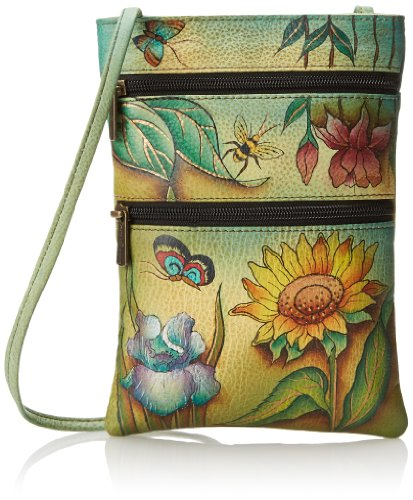 ANUSCHKA dipinto a mano in pelle Luxury –�?48 – Mini Tracolla da Viaggio doppia zip, Floating Feathers (multicolore) - 448-FFT Floral Dreams