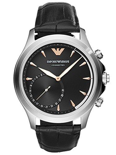 Emporio Armani Connected Herren-Armbanduhr Analog One Size, schwarz, schwarz
