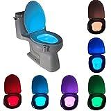 #9: ShopAIS 8 Color LED Toilet Light Sensor Motion Activated Glow Toilet Bowl Light Up Sensing Toilet Seat Night light Inside Bathroom Washroom