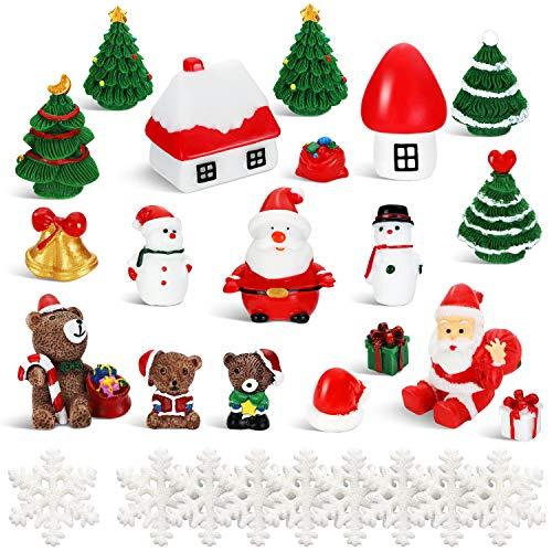BBTO 43 Pièces Ornements Miniatures de Noël Mini Ornements de Sapin de Noël Bonhomme de Neige Clochette Ours Cabane Château Flocon de Neige pour Les Décorations de Fête de Noël