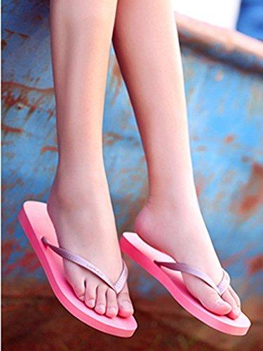 Aisun Damen Kühl Massage Rutschfest Flach Zehentrenner Pink 40 EU kPzjNH5csC