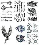 Oottati 6 Hojas Pequeño Lindo Tatuaje Temporal Tattoo Poesía Clave Símbolo Del Infinito...