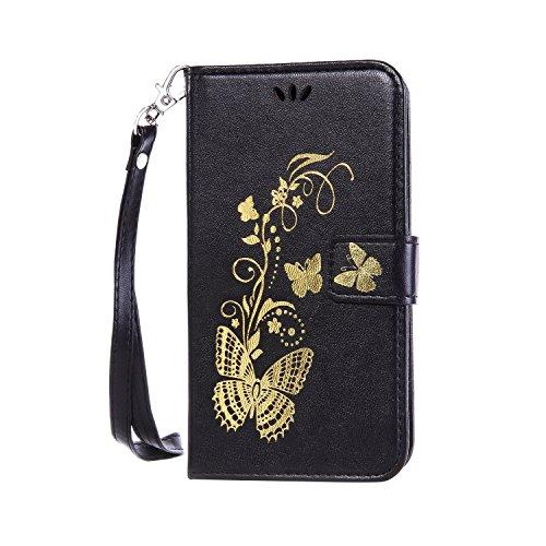 iPhone Case Cover Goldener Blumen-Schmetterling prägeartige Muster-Normallack-PU-lederner Fall-Schlag-magnetischer Silikon-Abdeckungs-Wallet-Standplatz-Fall mit Handbügel für iPhone7 ( Color : Pink ,  Black