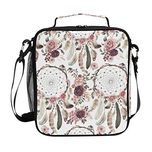 CPYang Bolsa de almuerzo aislada bolsa de almuerzo bolsa de hombro atrapasueños flor bolsa de almuerzo con correa de hombro para mujeres y hombres