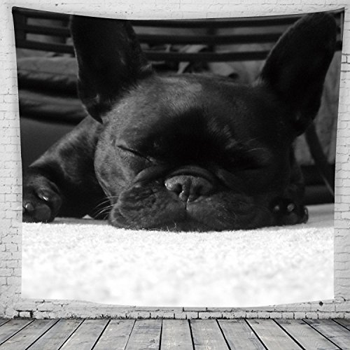Bulldogge Wandteppiche Mops Tapestry Psychedelisch Tapisserie Wandtuch Hippie Wall Hanging,Wanddeko Indisch Wandbehang Strandtuch,Tagesdecke,Tuch,Picnic Throw Muster1 130cmX150cm - Indische Mop