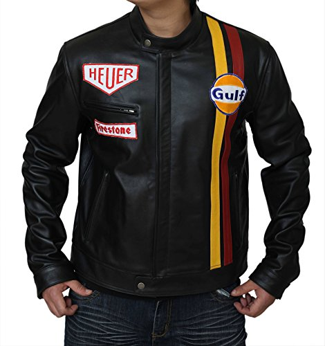 Steve McQueen Le Man Classic echtes Rindsleder Haut schwarz Leder Jacke Gr. XL, schwarz