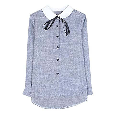 Ladies Point Collar Self Tie Bowknot Buttons Closed Sweet Shirt (M, Blue)