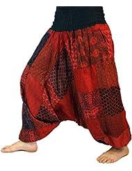 Aladinhose Patchwork Pluderhose, Hippie Hose rot / Pluderhosen und Aladinhosen
