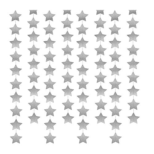 (Xiton Papiersterne Banner-Motiv Hängende Stern Garland Bunting für Hauptdekor-Partei-Dekoration Prop (Silber))