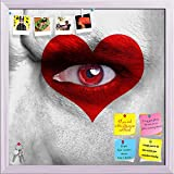ArtzFolio Human Face With Red Heart On Eye Printed Bulletin Board Notice Pin Board cum White Framed Painting 12 x 12inch