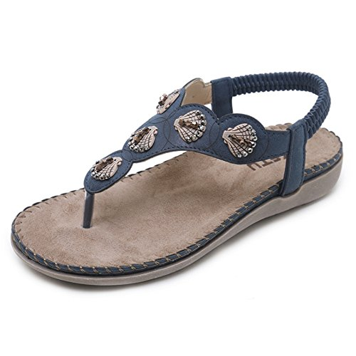 Wagsiyi sandacon zeppa con zeppa sandali infradito etnici tondi per donna con strass e bohemien sandali stivali spessi (colore : blu, dimensione : 39 1/3 eu)