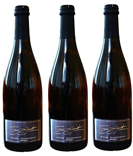 Alkoholfreier Sekt von Traubensamt | 3x Flaschen Traubensecco - 0,75 Liter | Halbtrocken | Fruchtiger Qualitätssekt aus Deutschland