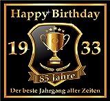 3 St. Aufkleber Original RAHMENLOS® Design: Selbstklebendes Flaschen-Etikett zum 85. Geburtstag: 1933 Der beste Jahrgang