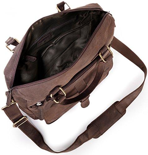 LEABAGS Fremont sac à main rétro-vintage en véritable cuir de buffle - Noix de muscade LeYyJbkoh