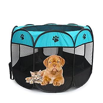 Kismaple Animal de compagnie Chiot Chien Chat lapin Jeu de Guinée Stylo Maison Cage de caisse en tissu portable Chenil avec amovible sécurité Couverture Camping Cage de tente (Small:72×72×45cm, Bleu)