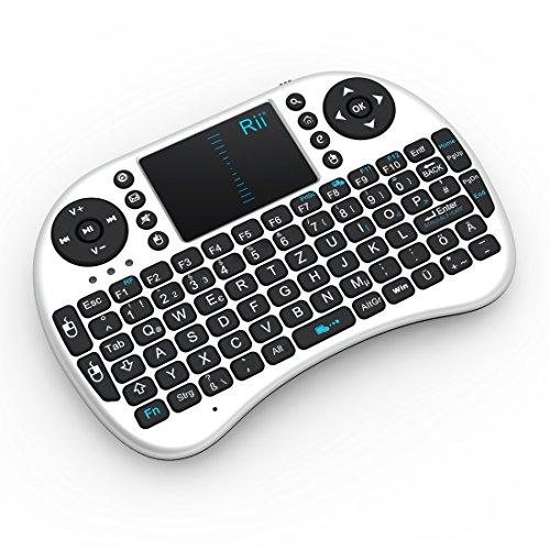 Rii i8 2.4GHz Wireless Kabellose Mini Tastatur (92 Keys DE QWERTZ)Ergonomische mit Touchpad-Maus und Ersatz Wiederaufladbare Li-ion Batterie für Smart TV, Raspberry Pi,Mini PC, HTPC, Computer und Konsolenspiele MacOS,Linux, Android,XBMC,Windows 2000 XP Vista 7 8 (Rii i8 Weiß) - 2