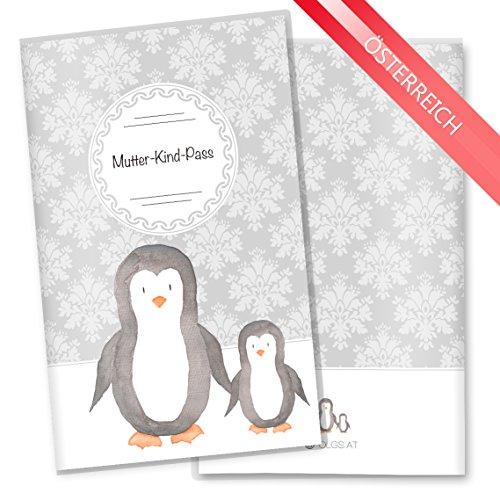 Mutter-Kind-Pass Hülle 3-teilig Motiv Black & White Schwangerschaft Geschenkidee (MuKi-Pass Österreich ohne Personalisierung, Pinguin)