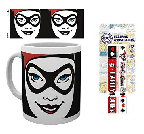 Set: Harley Quinn, Face, Dc Comics Tazza Da Caffè Mug (9x8 cm) E 1 Harley Quinn, Braccialetto (10x2 cm)