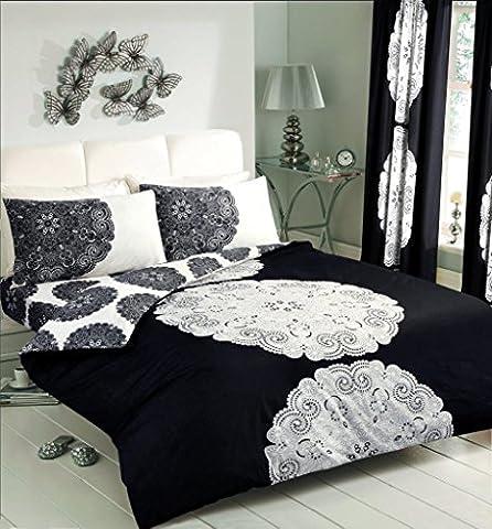 Duvet Cover Set Super King Size With Pillowcases Quilt Bedding Set Reversible Poly Cotton ,Manhatten Print Cream/Aubergine Black