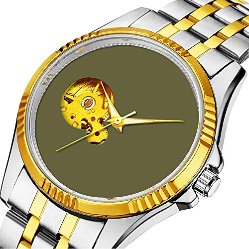 Lässige Männer automatische mechanische Uhr Luxusmarke lässige Sportuhren für männliche Persönlichkeit Zifferblatt & klares Fenster239.Loden Swamp Green Solid Trend Color Background -