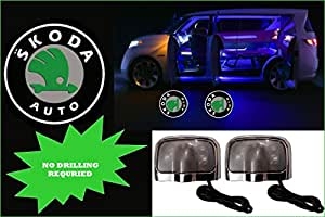 PREMIUM QUALITY SKODA CAR LOGO LED GHOST SHADOW WELCOME LIGHT DOOR PROJECTOR,SET OF TWO.NO DRILL REQUIRED.