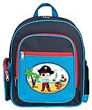 Aminata Kids – Rucksack Kinder Jungen Pirat Seeräuber Blau Dunkelblau Rot Kindergartenrucksack Polyester Kindertasche