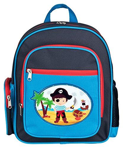 Aminata Kids - Rucksack Kindergarten Junge Piraten| hochwertiger Kinder-Rucksack aus Nylon, 4 Fächern mit Reißverschluss | Bequeme Tragegurte | blau, rot | wasserabweisend | Geschenk-Idee - Stauraum-insel
