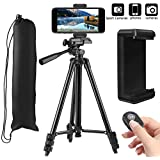 """PEMOTech 50"""" Phone Tripod [Upgraded Stronger Legs], Aluminum Tripod +Phone Holder Mount +Bluetooth Remote Shutter +Bag Compatible for iPhone XR/Xs Max/X 8/7/6/6S/Plus Samsung Note 9/S9 Stabilizer"""