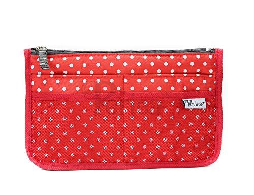 Periea - Organiseur de sac à main, 12 Compartiments - Chelsy (20 Couleurs) (Petit: H15 x L22 x P2-10cm, Rouge à pois blancs)