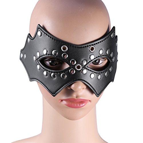 Amosfun Ajustable de Cuero con los Ojos vendados del paño Grueso y Suave Máscara de Ojo Disfraces de Halloween