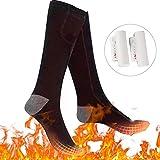 Bilisder Beheizte Socken Elektrisch Thermosocken Wandern Warme Wintersocken für Damen Herren Schwarz