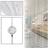 Segurry Fadenvorhang / Raumteiler, dekoratives Design, Volant, verziert mit Perlen und Fransen, durchsichtig, vielseitig verwendbar, Weiß