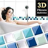 7 Stück 25,3 x 3,7 cm Fliesenaufkleber blau türkis silber Mosaik I selbstklebende 3D Fliesen Bad Küche Fliesendekor Fliesenfolie Wandora W1430