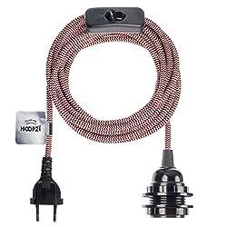 Hoopzi - Bala - Fassung e27 mit Kabel - Lampenfassung e27 mit Kabel und Schalter - Textilkabel mit Fassung - Lampenkabel - Pendelleuchte - 4,5 Meter - 36 Fraben - Rot-weißer Zickzackkurs