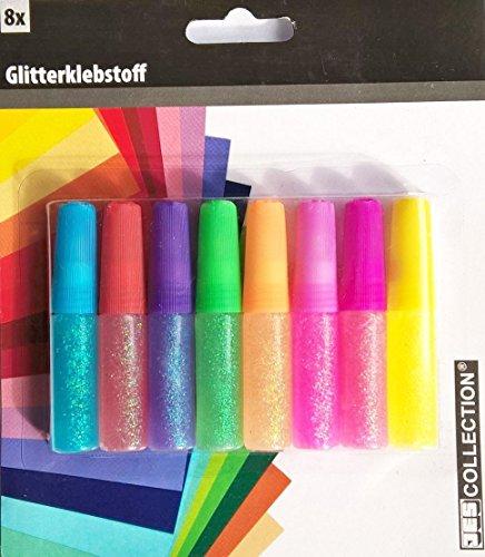JES COLLECTION® Glitterklebstoff / Glitterkleber / Glitzerkleber - 8 Tuben, 8 Farben zum Gestalten...