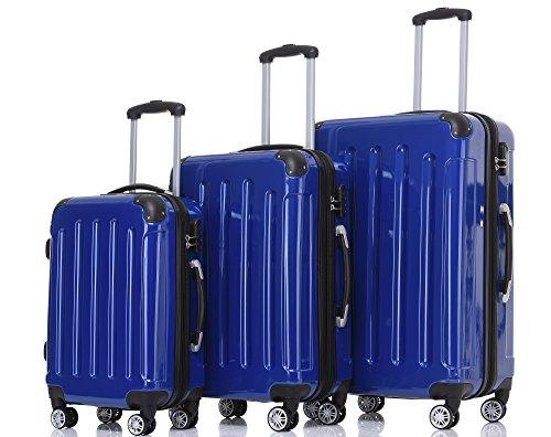 BEIBYE- 3er Kofferset Hartschalen-Koffer Reisekoffer Trolley Rollkoffer Set Reisekofferset (Blau)
