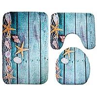 3pcs/set Bathroom Non-Slip Ocean Style Pedestal Rug + Lid Toilet Cover + Bath Mat