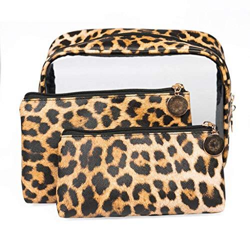 PVC Transparent Kosmetiktasche Travel Set 3 Wasserdichte Tragbare Aufbewahrungstasche Leopard Pouch Bag Kleine Geldbörse A -
