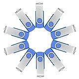 FEBNISCTE Lot de 10 64MB Clés USB 2.0 Pivot Bleu USB Flash Drive Solutions de Stockage Externes