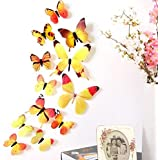 12pcs 3D PVC Wall Stickers Magnet Butterflies DIY Fridge Magnet Stickers Home Decor Poster Kids Rooms Wall Room Decoration (Yellow)