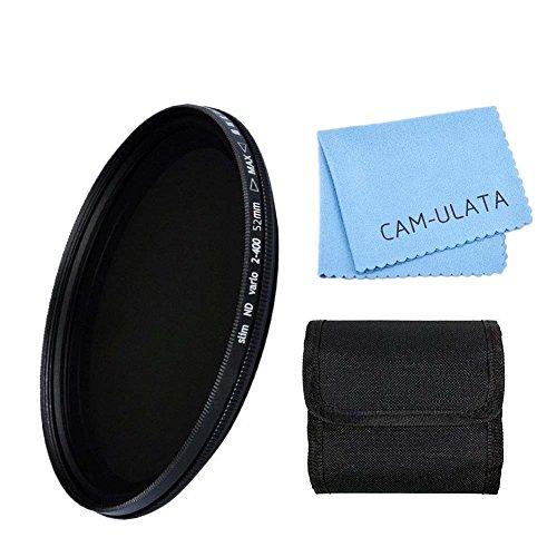 Preisvergleich Produktbild ND Filter, CAM-ULATA 52mm ND Fader Variable Neutrale Dichte Einstellbare ND Filter ND2 bis ND400 für Canon 600D EOS M M2 700D 100D 1100D 1200D 650D DSLR Kamera und Filter Brieftasche und Microfaser Linse Reinigungstuch