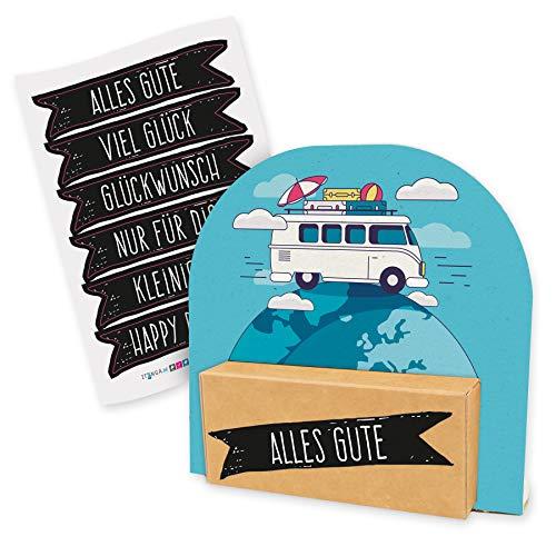 itenga Geldgeschenk oder Gutschein Verpackung Geschenkaufsteller Motiv/Anlass Reise Wohnmobil Camping mit Stickerbogen aus Karton 12x11,5cm