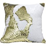 "Go Hooked Reversible Sequin Pillow Cover Cushion Case 16""x16"" (Gold-White) (Set Of 5)/Reversible Cushion Cover/Sequin Cushion Covers 16x16/sequin Cushion Cover"
