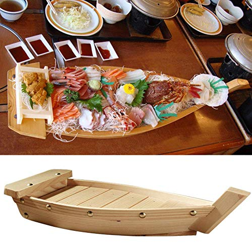 Holz Sushi Boot Serviertablett, Creative Boat-Shaped Japanese Cuisine Sushi Boot Sashimi Platte für Party Foods, Snacks - Wie Abgebildet Show, L Sushi-boot