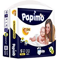 Papimo Baby Diaper Pants with Aloe Vera, Small (4 - 8 kg), 78 Count
